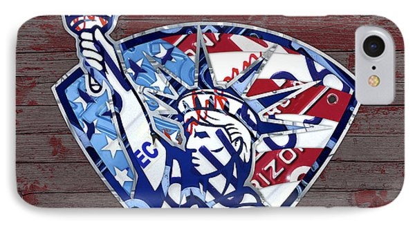 Statue Of Liberty On Stars And Stripes Flag Wood Background Recycled Vintage License Plate Art IPhone Case by Design Turnpike