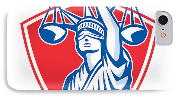 Statue Of Liberty Raising Justice Weighing Scales Retro Phone Case by Aloysius Patrimonio