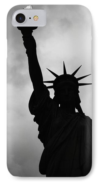 Statue Of Liberty Silhouette IPhone 7 Case by Dave Beckerman