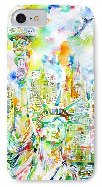 Statue Of Liberty - Watercolor Portrait IPhone Case by Fabrizio Cassetta
