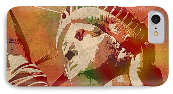Statue Of Liberty Watercolor Portrait No 1 IPhone Case