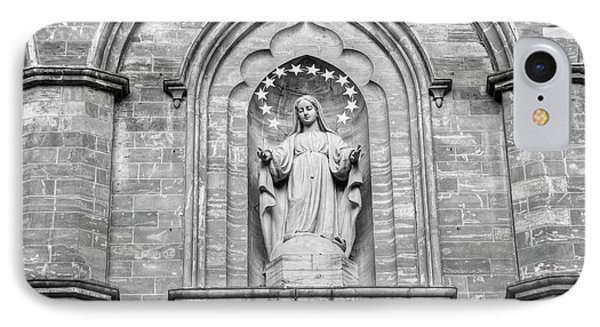Statue On Facade Of Notre Dame Church IPhone Case by David Chapman