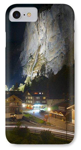 Staubbach Falls At Night In Lauterbrunnen Switzerland IPhone Case