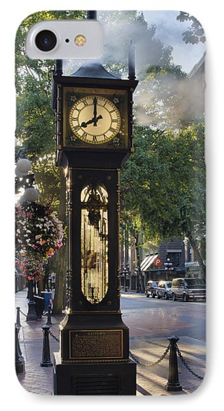 Steam Clock At Gastown Vancouver In The Morning IPhone Case by Jit Lim