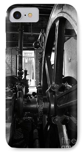 Steam Engine Flywheel At Lockes Distillery Bw  IPhone Case by RicardMN Photography