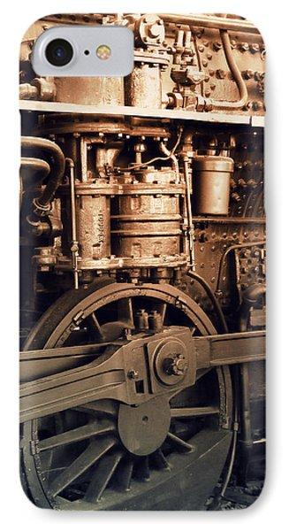 Steam Locomotive Train Detail Sepia IPhone Case by Karyn Robinson