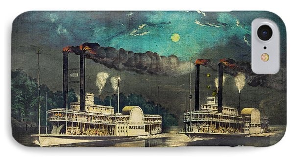 Steamboat Racing On The Mississippi IPhone Case by Lianne Schneider