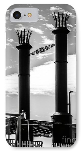 Steamboat Smokestacks Black And White Picture IPhone Case