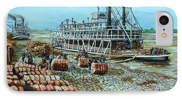 Steamboat Unloading Cotton In Memphis Phone Case by Karl Wagner