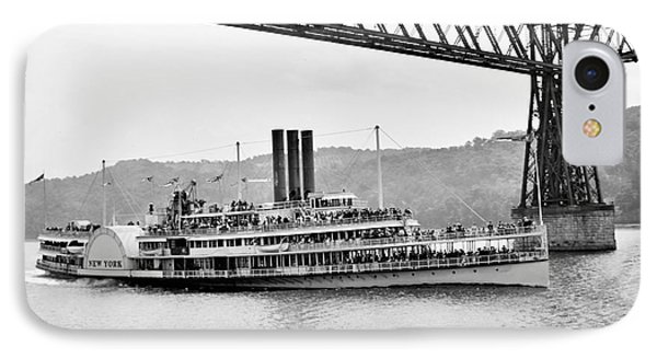 Steamer Albany Under Poughkeepsie Trestle Black And White IPhone Case