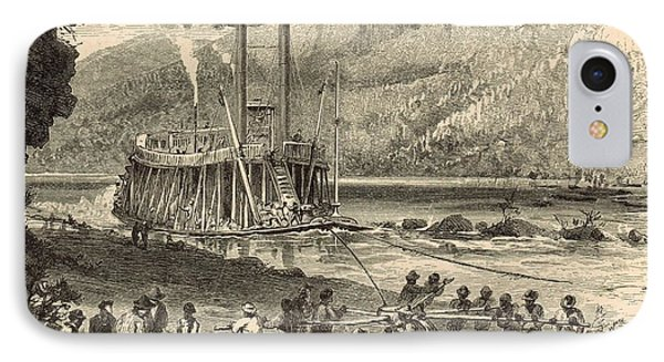 Steamer On The Tennessee Warped Through The Suck - 1872 Engraving Phone Case by Antique Engravings
