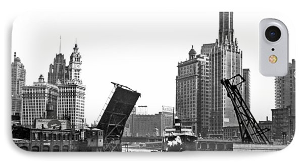 Steamer Towed On Chicago River IPhone Case by Underwood Archives
