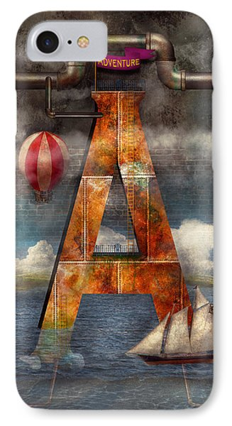 Steampunk - Alphabet - A Is For Adventure IPhone Case by Mike Savad