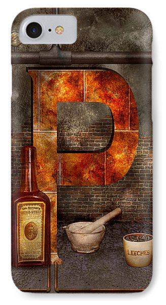 Steampunk - Alphabet - P Is For Pharmacy IPhone Case by Mike Savad
