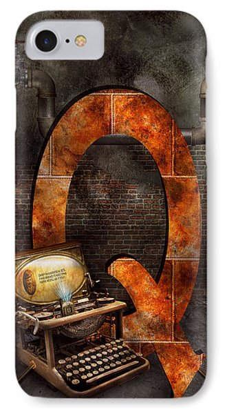 Steampunk - Alphabet - Q Is For Qwerty IPhone Case by Mike Savad