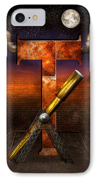 Steampunk - Alphabet - T Is For Telescope IPhone Case by Mike Savad