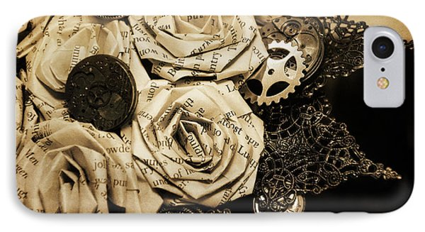 Steampunk Paper Roses Will Never Fade Phone Case by Lisa Knechtel