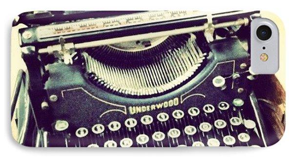 #steampunk #typewriter #writeshit IPhone Case by Devin Muylle
