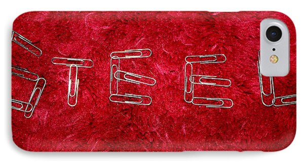 Steel On Red IPhone Case by Ellen Tully
