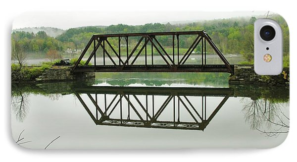 IPhone Case featuring the photograph Vermont Steel Railroad Trestle On A Calm  Misty Morning by Sherman Perry