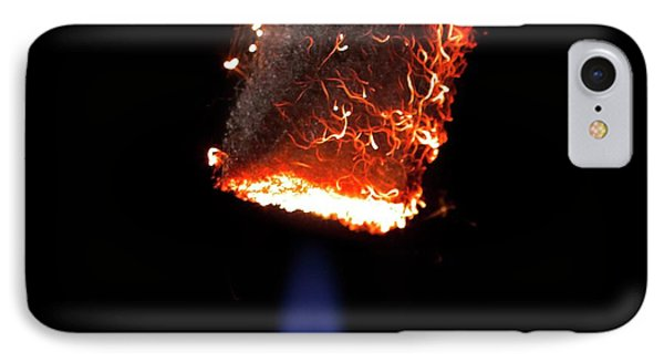 Steel Wool Burning In Air IPhone Case by Science Photo Library
