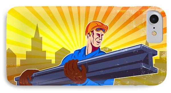 Steel Worker Carry I-beam Retro Poster Phone Case by Aloysius Patrimonio