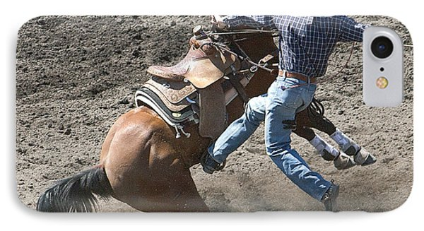 Steer Roping Horse IPhone Case by Daniel Hagerman