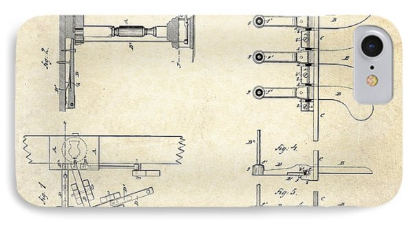 1885 Steinway Piano Pedal Patent Art IPhone Case by Gary Bodnar