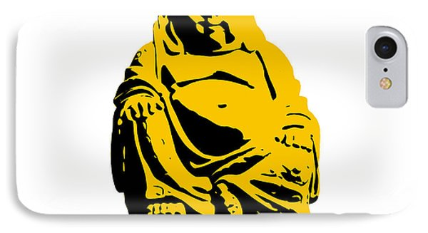 Stencil Buddha Yellow IPhone Case by Pixel Chimp