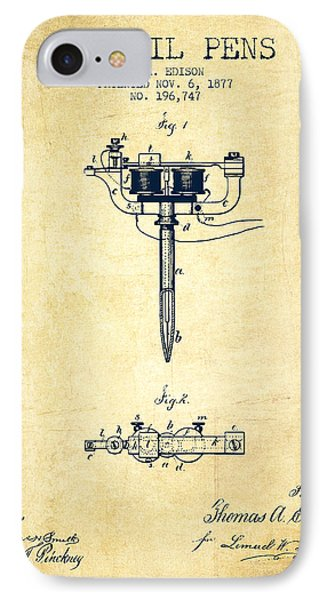 Stencil Pen Patent From 1877 - Vintage IPhone Case by Aged Pixel