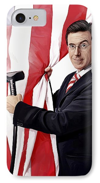 IPhone Case featuring the painting Stephen Colbert Artwork by Sheraz A
