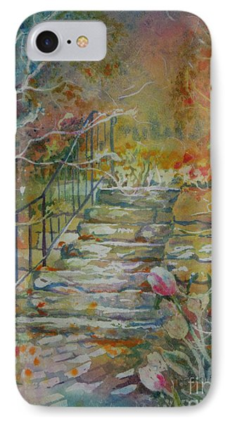 IPhone Case featuring the painting Steps And Tulips by Mary Haley-Rocks