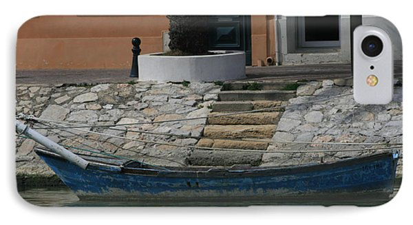 IPhone Case featuring the photograph Steps To Blue Boat by Phoenix De Vries