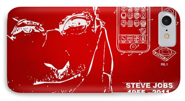 Steve Jobs Iphone Patent Artwork Red IPhone Case by Nikki Marie Smith