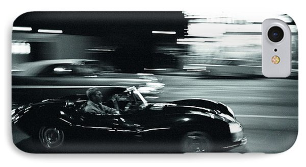 Steve Mcqueen Jaguar Xk-ss On Sunset Blvd IPhone Case
