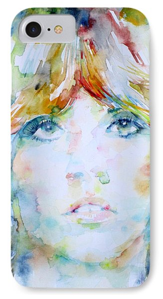 Stevie Nicks - Watercolor Portrait IPhone Case by Fabrizio Cassetta