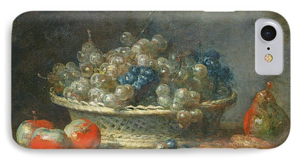 Still Life Grape Basket With Three Apples, A Pear And Two Marzipans, 1764 Oil On Canvas IPhone Case