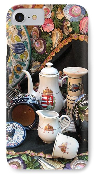 Still Life Hungarian Embroidery Pottery Fine China Magyar Applied Arts IPhone Case by  Andrea Lazar