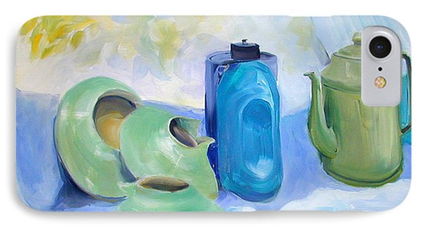 IPhone Case featuring the painting Still Life In Blue And Green Pottery by Greta Corens