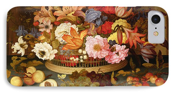 Still Life Of Fruit And A Basket Of Flowers, 1623 Oil On Panel IPhone Case