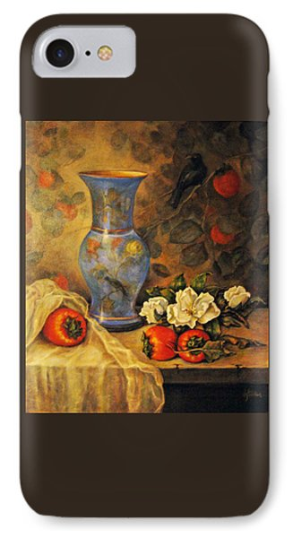 Still Life Of Persimmons  IPhone Case by Donna Tucker