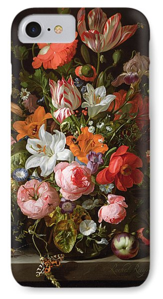 Still Life Of Roses, Lilies, Tulips And Other Flowers In A Glass Vase With A Brindled Beauty IPhone Case