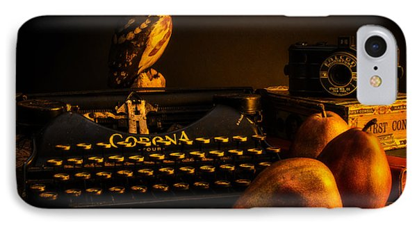Still Life - Pears And Typewriter IPhone Case by Jon Woodhams