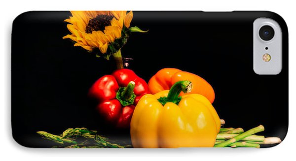 Still Life Peppers Asparagus Sunflower IPhone Case by Jon Woodhams