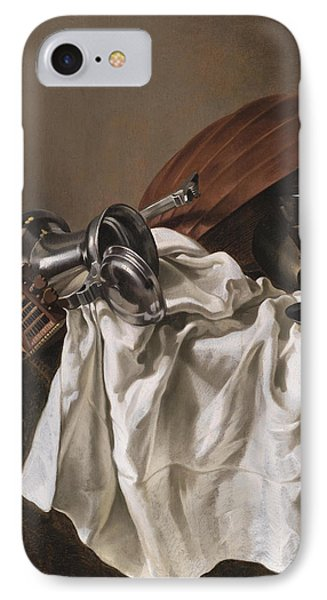 Still Life With A Lute IPhone Case by Willem van Odekercken