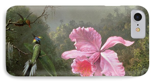 Still Life With An Orchid And A Pair Of Hummingbirds Phone Case by Martin Johnson Heade