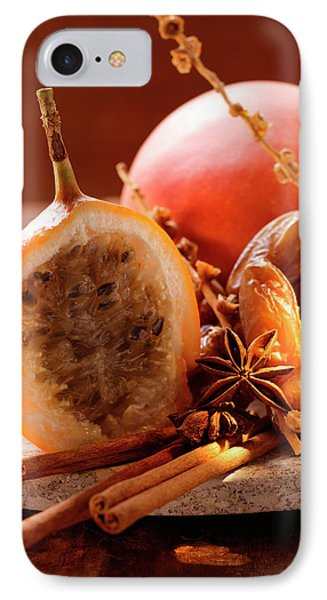 Still Life With Dates, Star Anise, Cinnamon, Granadilla And Mango IPhone Case