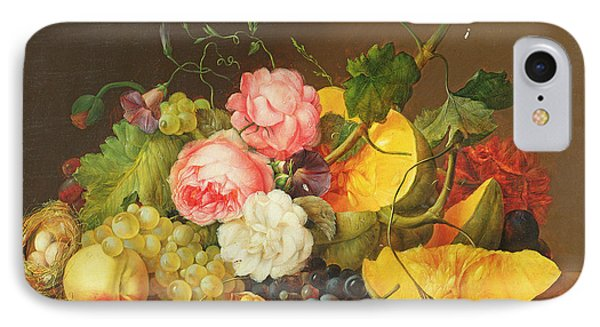 Still Life With Flowers And Fruit, 1821 IPhone Case by Franz Xavier Petter