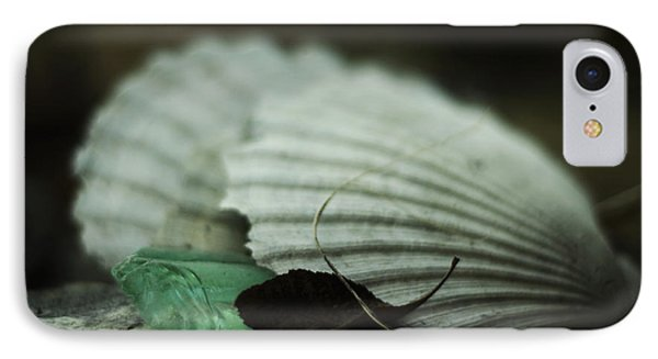 Still Life With Fossil Shells And Beach Glass IPhone Case by Rebecca Sherman