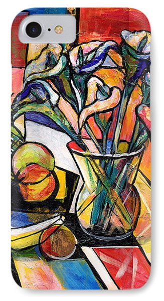 Still Life With Fruit And Calla Lilies IPhone Case by Everett Spruill